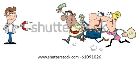 Young Businessman Using A Magnet Attracts People With Money - stock vector