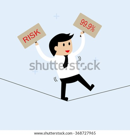 Young businessman walk on the rope. Risk management concept. - stock vector