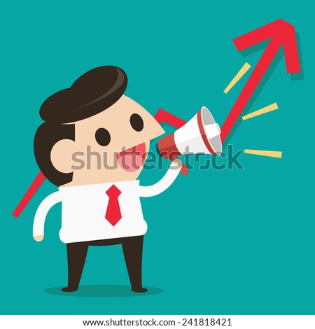 Young businessman with a megaphone, shares up - stock vector