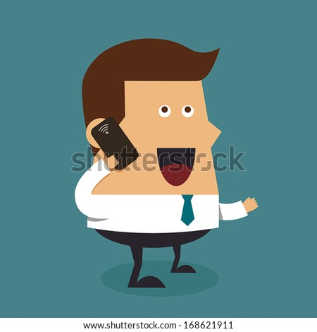 Young businessman with cellphone. - stock vector