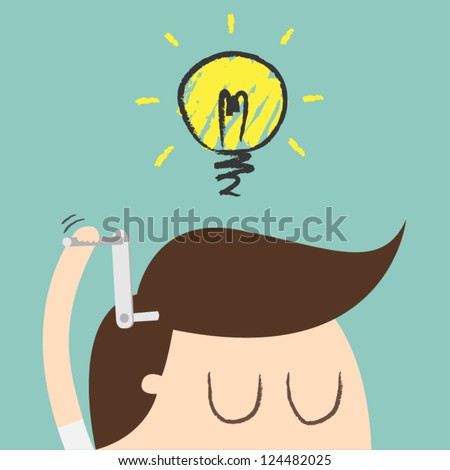 Young businessman with ideas as symbol of business creativity - stock vector