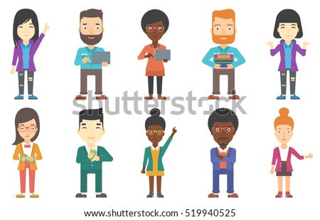 Young businessman working on a loptop. Confident businessman standing with a laptop in hands. Smiling businessman using a loptop. Set of vector flat design illustrations isolated on white background.