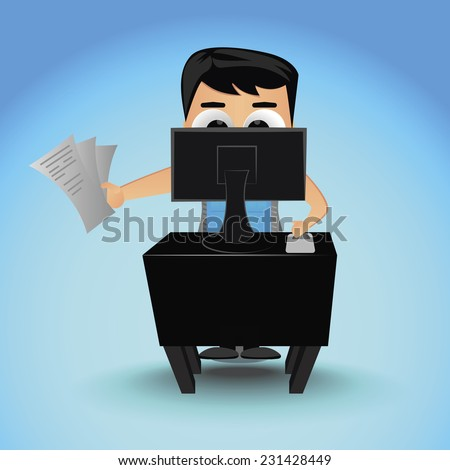 young businessman works at the computer and holds documents - stock vector