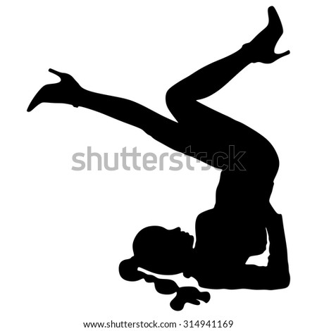 sketch woman gymnast handstand on white stock vector