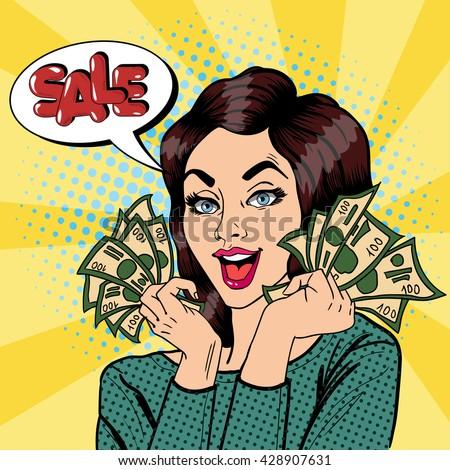 Young Businesswoman Holding Cash. Woman Shouts Sale. Pop Art. Vector illustration - stock vector