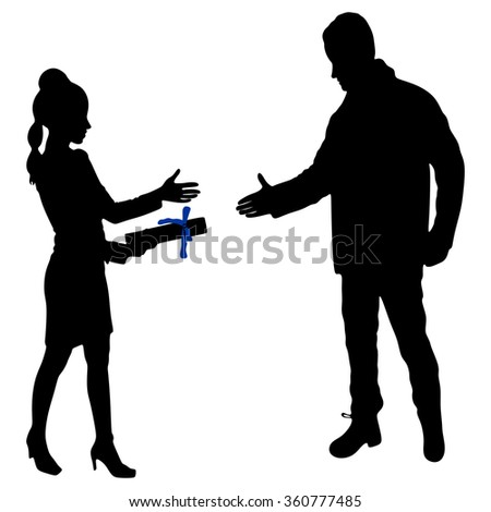 Young Businesswoman holds up her certificate while man extending hand to shake - stock vector
