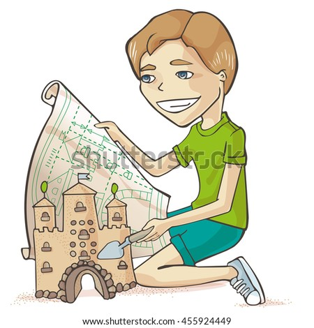 Young Cartoon Boy Making Sand Castle. - stock vector