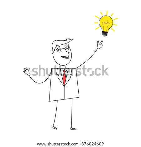 Young cartoon businessman pointing at light bulb - stock vector