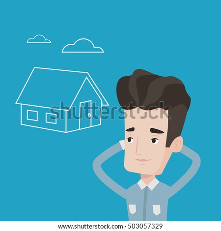 Young caucasian man dreaming about future life in a new house. Smiling man planning his future purchase of house. Man thinking about buying a house. Vector flat design illustration. Square layout.