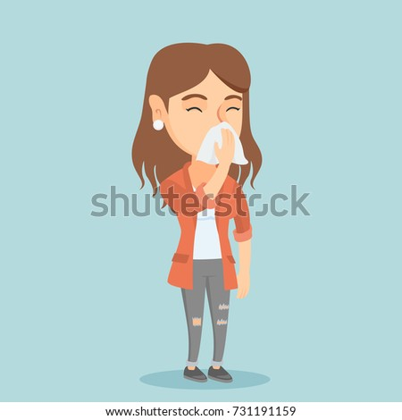Young caucasian woman blowing her nose to a paper napkin. Sick woman sneezing. Unwell woman having an allergy and blowing her nose to a tissue. Vector cartoon illustration. Square layout.