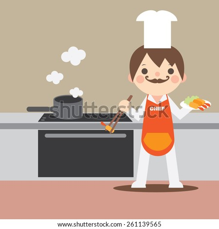 Young Chef Cooks Tempura in the Kitchen flat style - stock vector