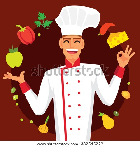 Young chef surrounded by fruits and vegetables. Vector illustration on a brown background.