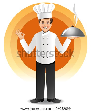 Young chef with steaming cuisine - stock vector
