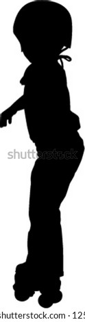 young child roller skating - stock vector