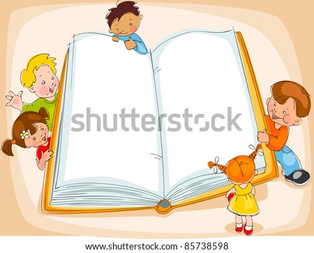 Young children are reading a great book. drawing Banner - stock vector