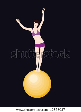 Young circus performer on a yellow sphere