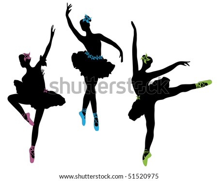 young classical dancers - stock vector
