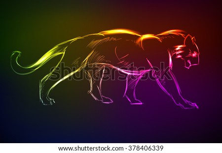 Young Cougar prepares to jump. Neon style - stock vector