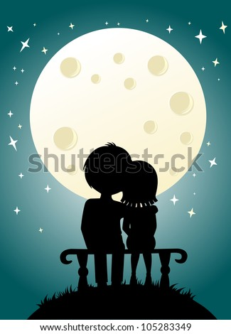 young couple and nightly sky with moon - stock vector
