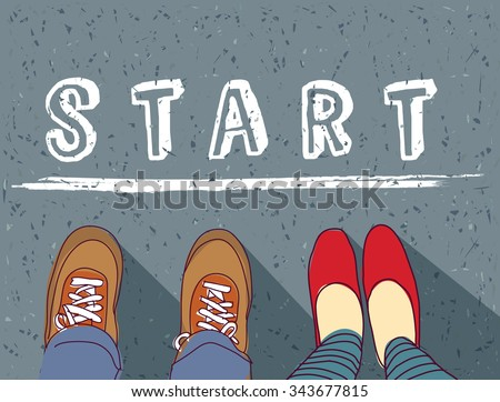 Young couple begin way start line and love. Man and woman standing on the way. Color vector illustration. EPS 8  - stock vector