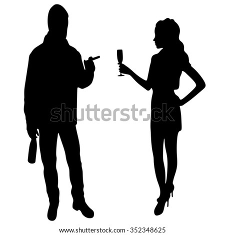 young couple celebrating - stock vector