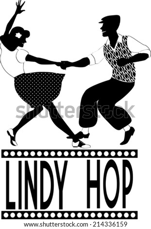 Young couple dressed in late 1940s style clothes dancing lindy hop, black vector silhouette, no white - stock vector