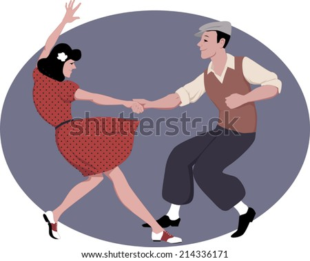 Young couple dressed in late 1940s style clothes dancing lindy hop, vector illustration - stock vector