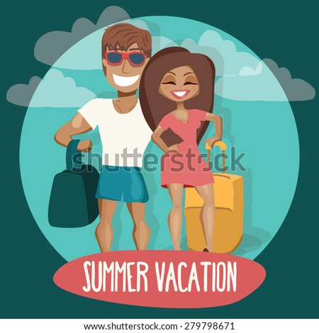 Young couple going on vacation. Vector illustration - stock vector