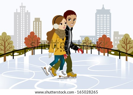 Young couple Ice Skating in city - stock vector