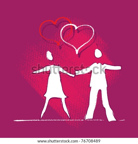 Young couple icon, heart motive (freehand painterly style) - stock vector