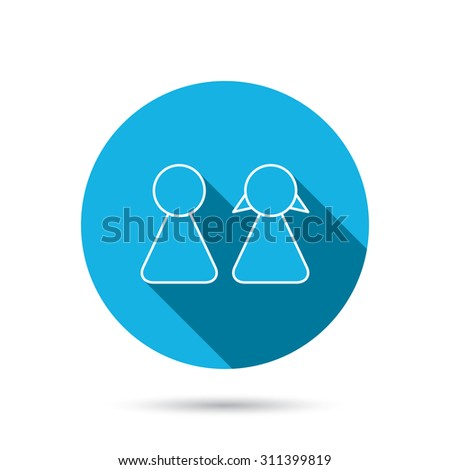 Young couple icon. Male and female sign. Blue flat circle button with shadow. Vector - stock vector