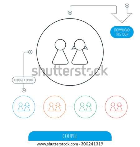 Young couple icon. Male and female sign. Line circle buttons. Download arrow symbol. Vector - stock vector
