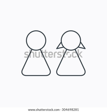 Young couple icon. Male and female sign. Linear outline icon on white background. Vector - stock vector