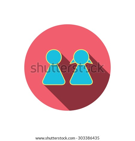 Young couple icon. Male and female sign. Red flat circle button. Linear icon with shadow. Vector - stock vector