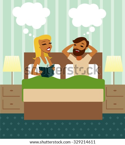 Young couple in bed vector illustration - stock vector
