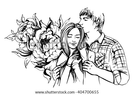 Young couple in love.Sensual sketch portrait of young stylish fashion couple. Embraces of a loving couple, couple hugging and flirting. Hand drawn vector illustration - stock vector