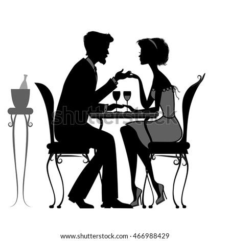 young couple in love sitting  in a cafe. black and white silhouette. vector illustration. good for your design!