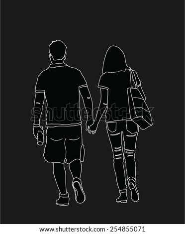 Young couple in love walking around and holding hands vector. Happy couple walking. white line on black background. Young man and woman in love. - stock vector