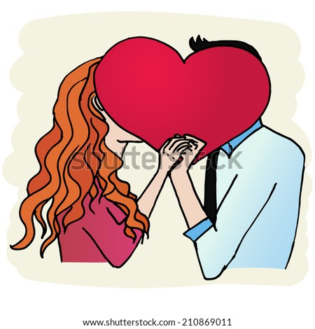 young couple kissing holding heart in hands - stock vector