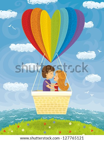 Young Couple Love Traveling Together - stock vector