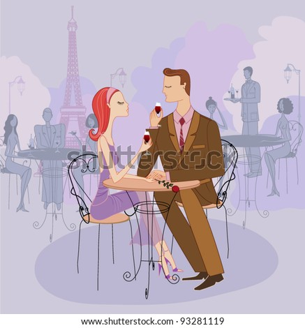 Young Couple on a Date in Paris - stock vector