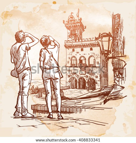 Young couple on a sightseeing tour in San Marino. Urban sketched panorama. Grunge background. EPS10 vector illustration.