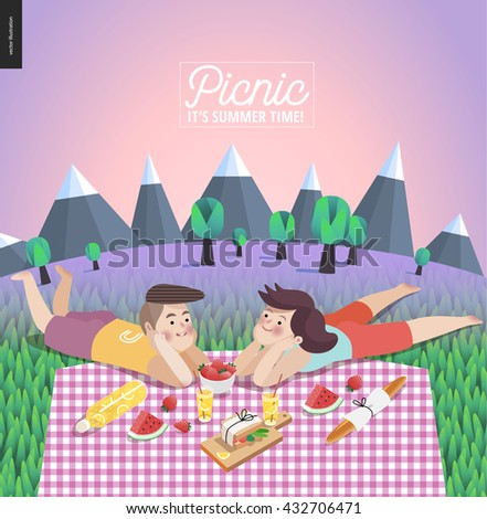Young couple on picnic template - flat cartoon vector illustration of woman and man laying down on checkered plaid in landscape with mountains, trees and lilac sky on the background - stock vector