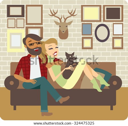 Young Couple Relaxing On Sofa In New Home - stock vector