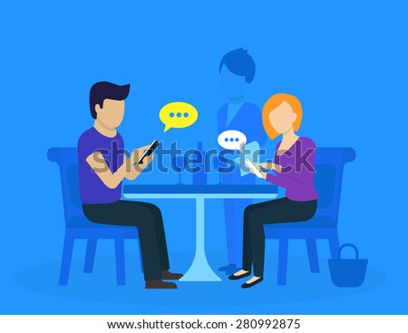 Young couple sitting in the restaurant and using smartphones for social networks - stock vector