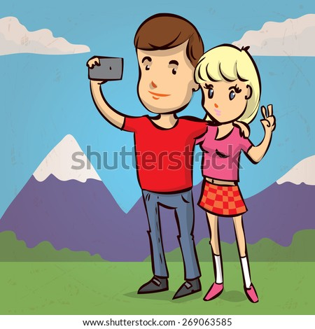 Young couple taking selfie photo together with mobile phone. Hand drawn cartoon vector illustration. - stock vector