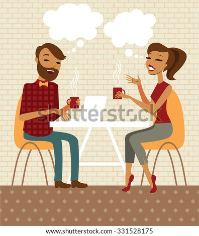 Young couple talking and drinking coffee in a cafe - stock vector