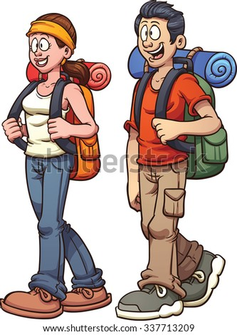 Young couple walking. Vector clip art illustration with simple gradients. Each on a separate layer. - stock vector