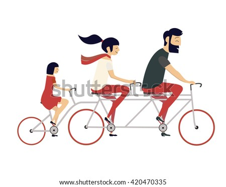 Young couple with child riding bicycle. Hipster style