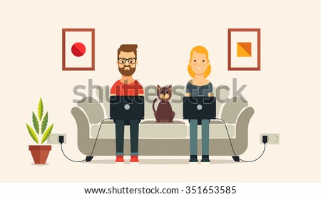 Young Couple with Laptops Sitting on the Sofa. Flat Vector Illustration - stock vector